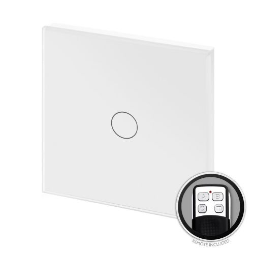 RetroTouch Touch & Remote On/Off Light Switch 1 Gang 1 Way White Glass PG 00360